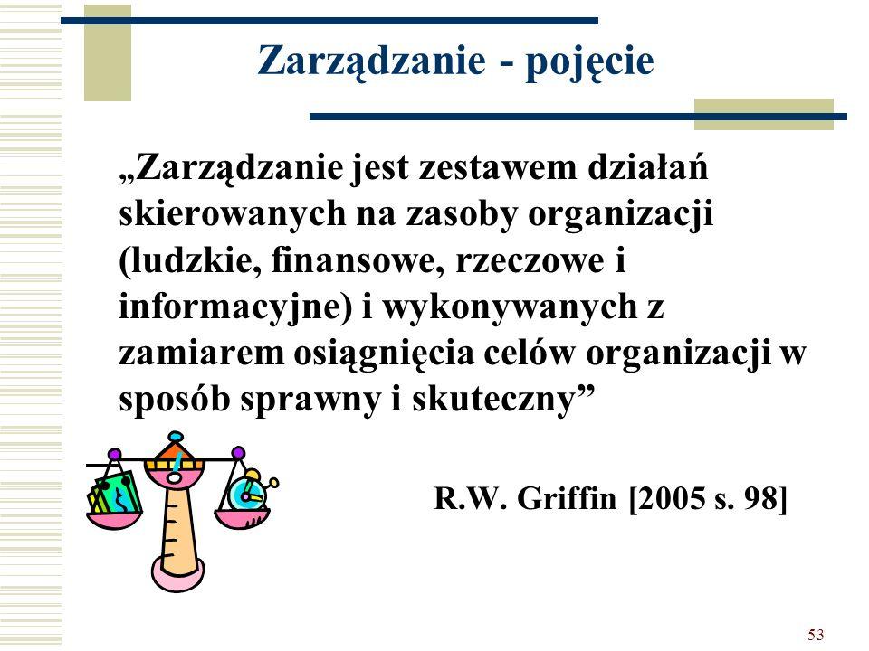 Zarządzanie - pojęcie R.W. Griffin [2005 s. 98]